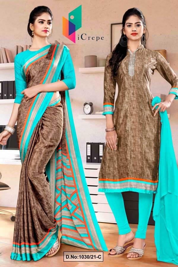 brown-sea-green-premium-italian-silk-crepe-saree-salwar-combo-for-receptionist-uniform-sarees-1030-C