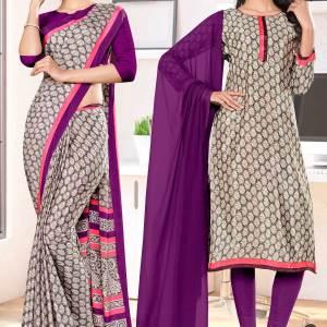 brown-wine-premium-italian-silk-crepe-saree-salwar-combo-for-student-uniform-sarees-1032-C