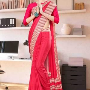 carrot-pink-plain-border-premium-polycotton-raw-silk-saree-for-employee-uniform-sarees-1042