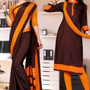 coffee-orange-premium-italian-silk-crepe-saree-salwar-combo-for-teachers-uniform-sarees-1603-c