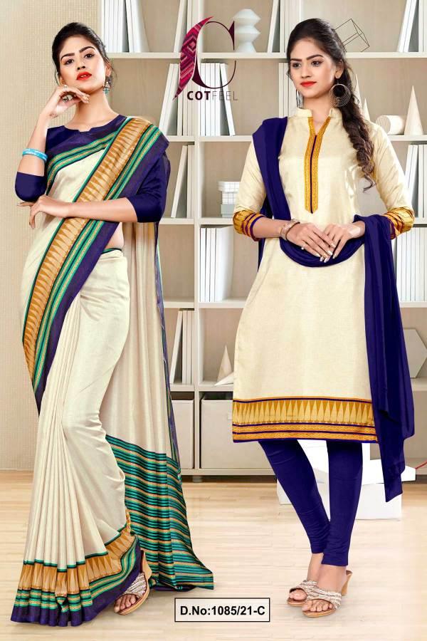 cream-navy-blue-plain-gala-border-polycotton-cotfeel-saree-chudi-combo-for-showroom-uniform-sarees-1085