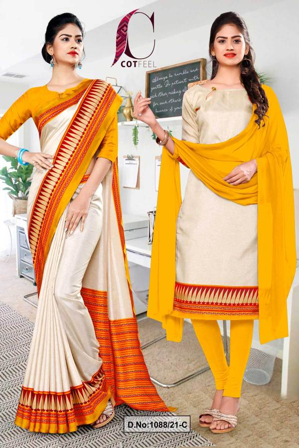 cream-yellow-gold-plain-gala-border-polycotton-cotfeel-saree-salwar-combo-for-school-uniform-sarees-1088