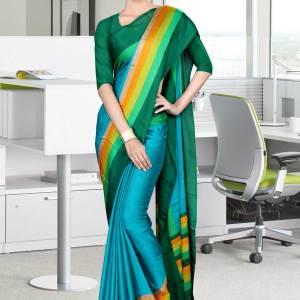 dark-blue-and-green-italian-crepe-silk-office-uniform-saree-511