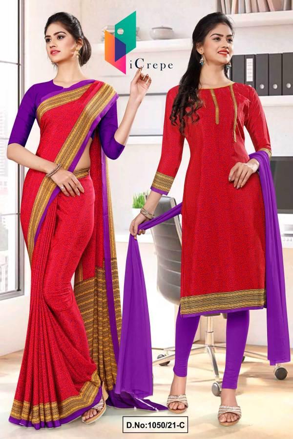 dark-pink-lavender-paisley-print-premium-italian-silk-crepe-uniform-saree-salwar-kameez-combo-for-front-office-staff-1050-C