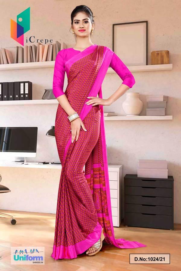 dark-pink-small-print-premium-italian-silk-crepe-saree-for-hotel-uniform-sarees-1024-21