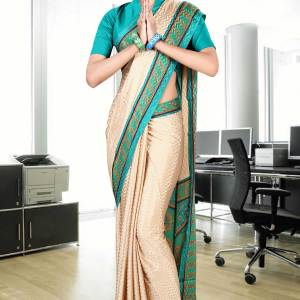 beige-and-green-jacquard-crepe-taj-hotel-uniform-sarees-237