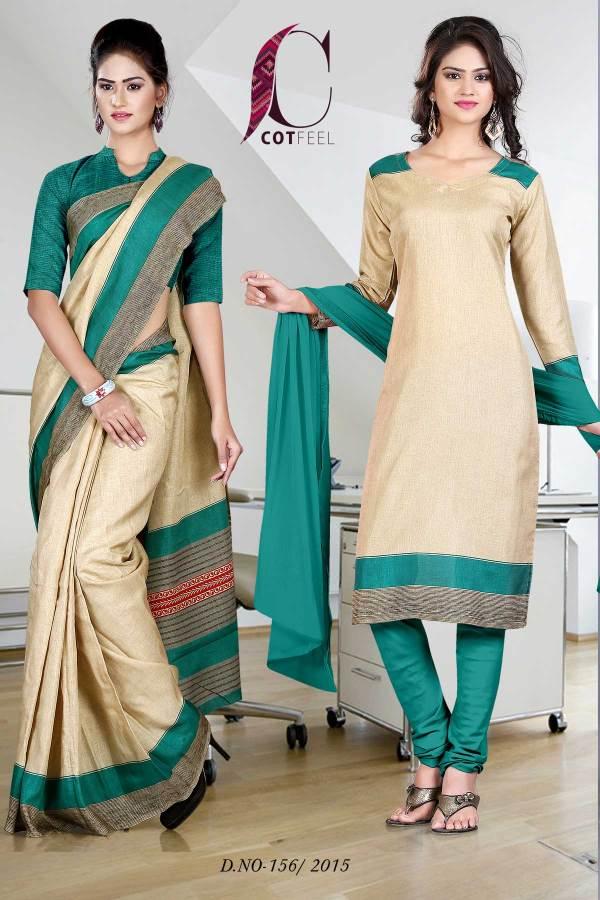 green-and-beige-uniform-saree-salwar-combo-156