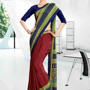 green-and-maroon-corporate-uniform-saree-832-19