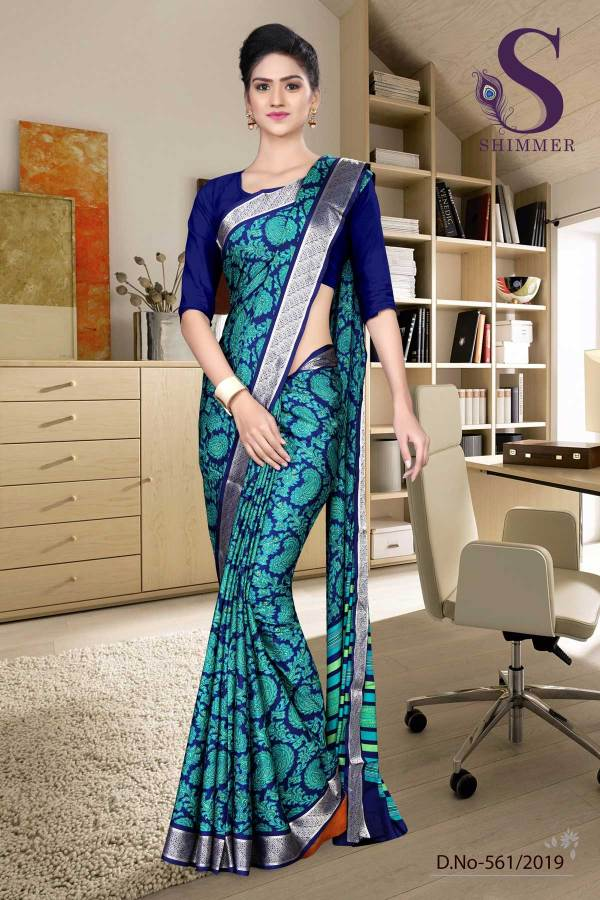 green-blue-silk-crepe-jaquard-border-fancy-uniform-sarees-561