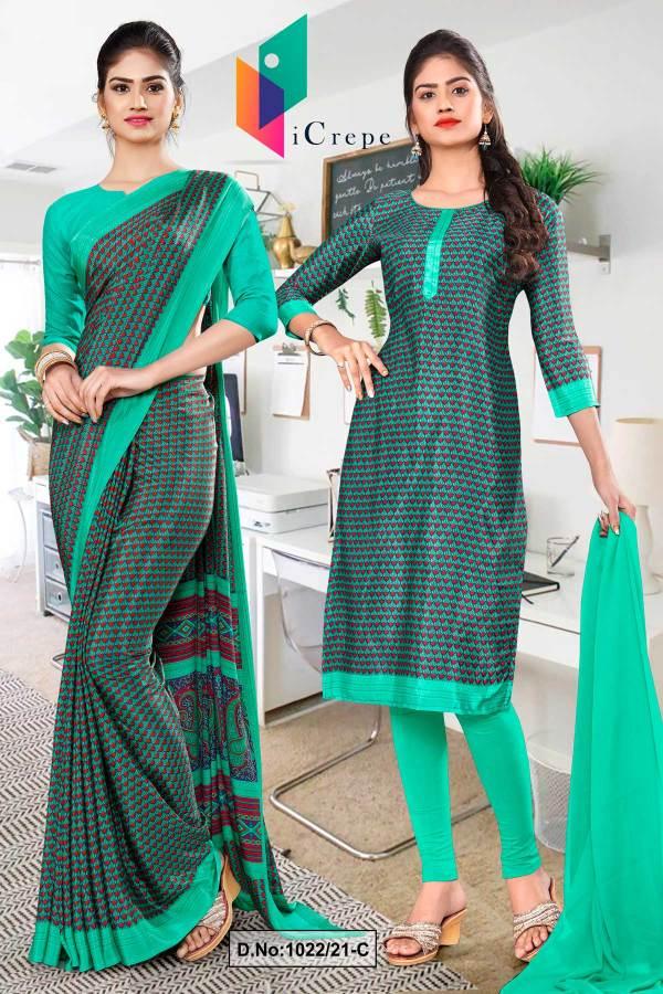 green-border-small-print-premium-italian-silk-crepe-saree-salwar-combo-for-hospital-uniform-sarees-1022-C