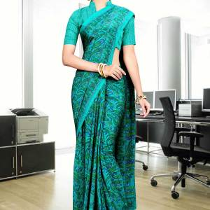 green-fine-printed-italian-crepe-uniform-saree-435