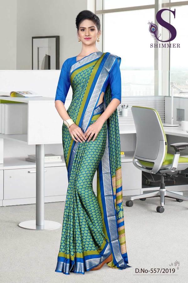 green-turquoise-silk-crepe-jaquard-border-college-uniform-sarees-557