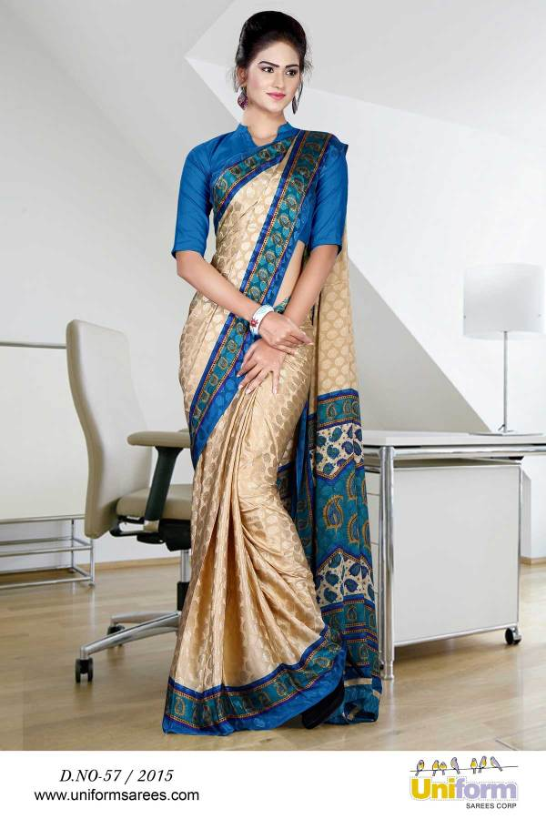 beige-and-turquoise-jacquard-crepe-taj-hotel-uniform-sarees-57
