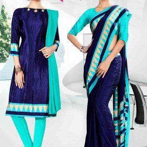 light-blue-and-blue-corporate-uniform-saree-salwar-combo-846-908