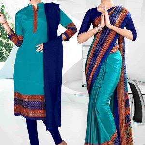 light-blue-and-nevi blue-icrepe-corporate-uniform-saree-salwar-combo-829-938