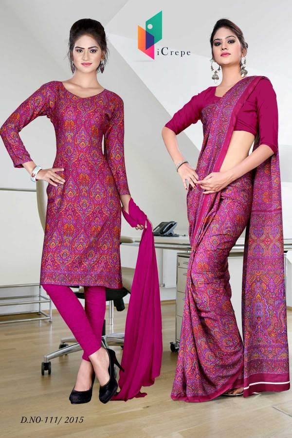 magenta-italian-crepe-uniform-saree-salwar-combo-111