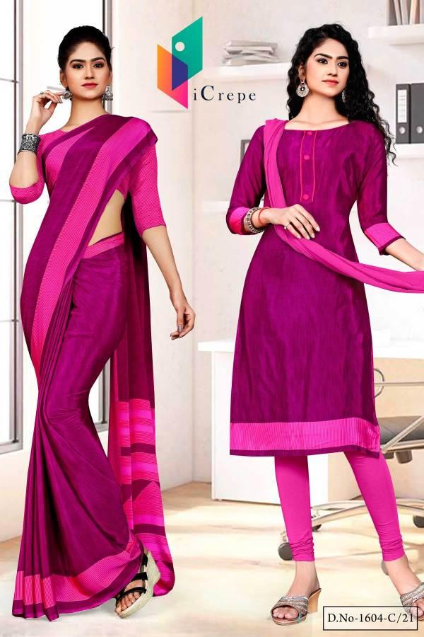 majenta-dark-pink-premium-italian-silk-crepe-saree-salwar-combo-for-institution-uniform-sarees-1604-c