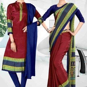 maroon-and-green-icrepe-silk-institute-uniform-saree-salwar-combo-832-911