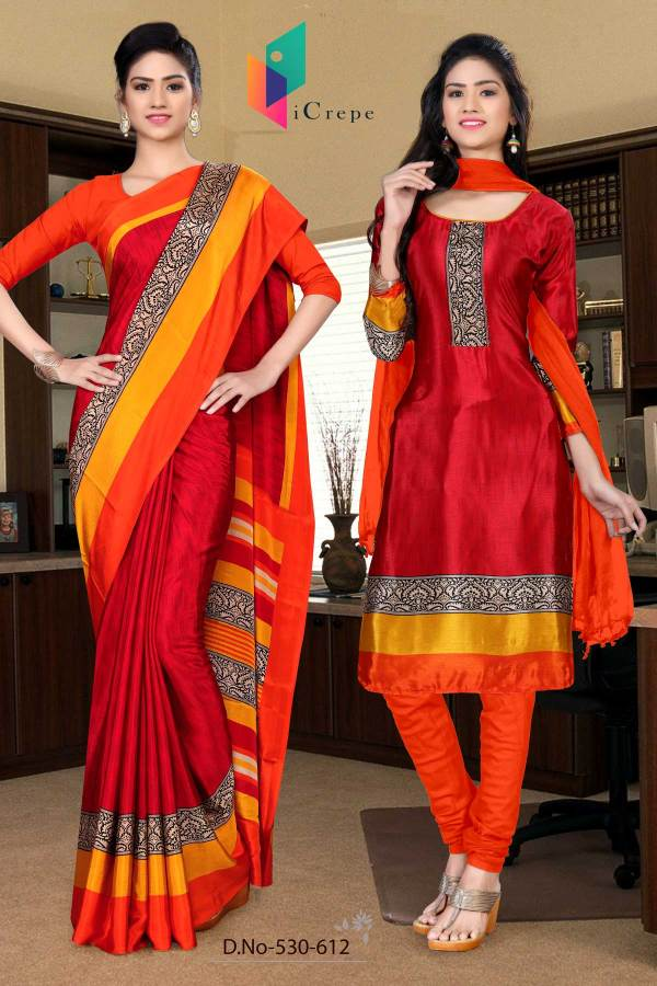 maroon-and-orange-italian-crepe-silk-school-uniform-saree-salwar-combo-530-612