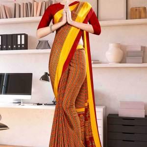 maroon-gold-multi-color-print-premium-italian-silk-crepe-uniform-sarees-for-hotel-staff-1048-21