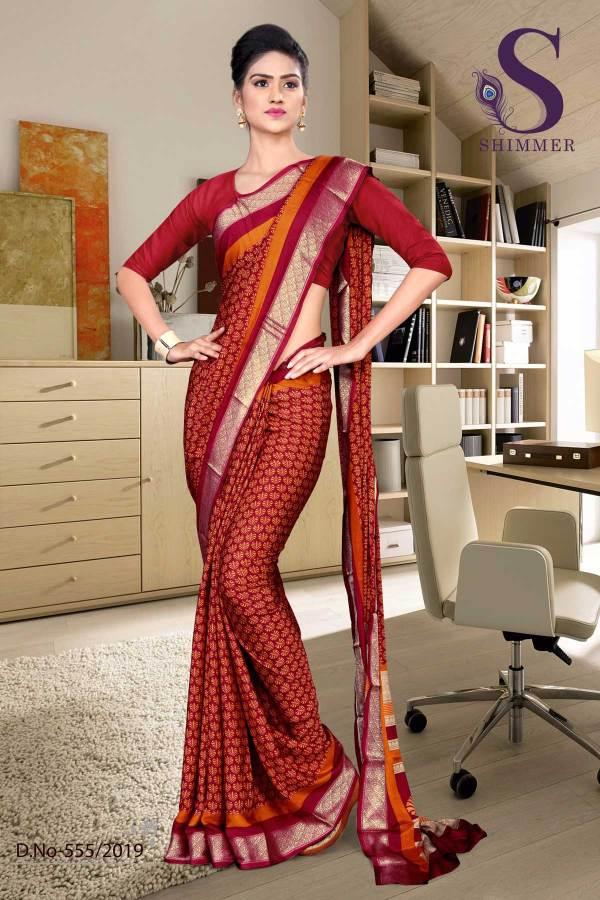 maroon-red-silk-crepe-jaquard-border-showroom-uniform-sarees-555