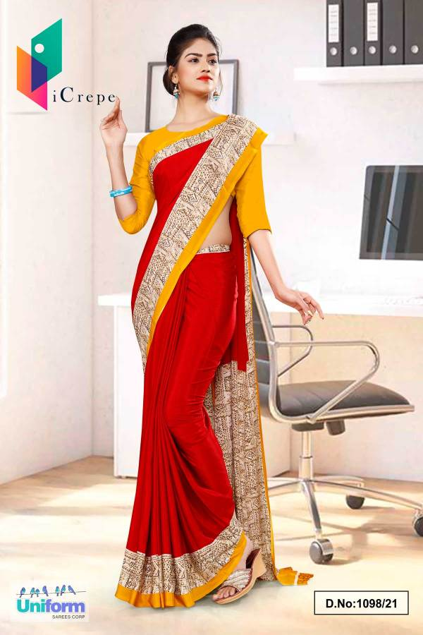 marron-yellow-gold-plain-border-premium-italian-crepe-uniform-sarees-for-front-office-staff-1098