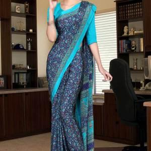 navy-blue-and-turquoise-italian-crepe-silk-showroom-uniform-saree-546