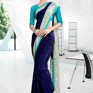 off-blue-and-blue-icrepe-corporate-uniform-saree-843