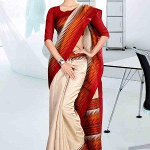 off-white-and-red-cotton-corporate-uniform-saree-815-19