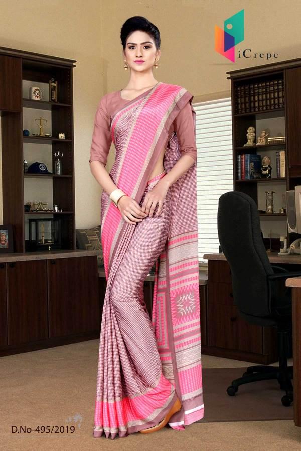 pink-and-pink-italian-crepe-silk-air-hostess-uniform-saree-495