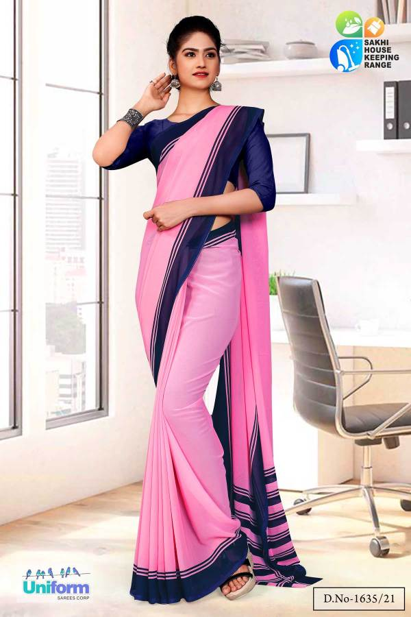 pink-blue-premium-georgette-plain-border-housekeeping-uniform-sarees-for-anganwadi-workers-1635
