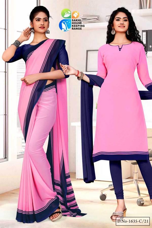 pink-blue-premium-georgette-plain-border-housekeeping-uniform-sarees-salwar-combo-for-anganwadi-workers-1635-C