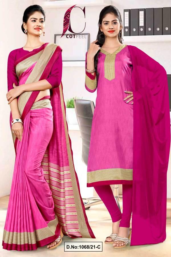 pink-wine-plain-border-premium-polycotton-cotfeel-saree-salwar-combo-for-factory-uniform-sarees-1068-1068-C