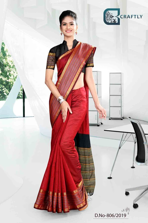 red-and-black-craftly-cotton-corporate-uniform-saree-806