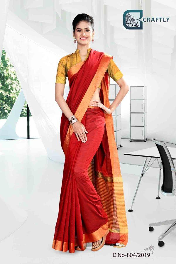 red-and-yellow-craftly-cotton-school-uniform-saree-804