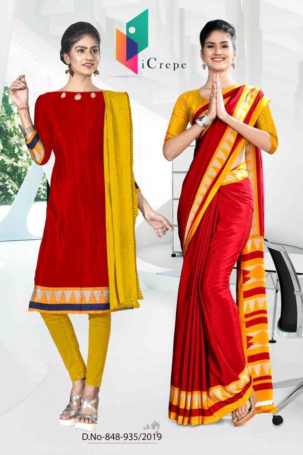 red-and-yellow-icrepe-silk-institute-uniform-saree-salwar-combo-848-935