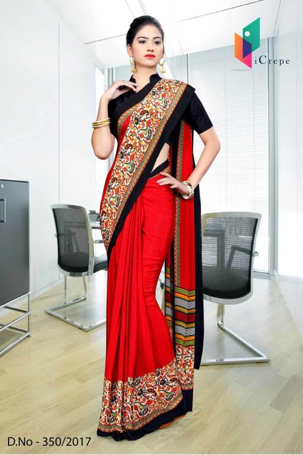 red-black-border-italian-crepe-uniform-saree-350
