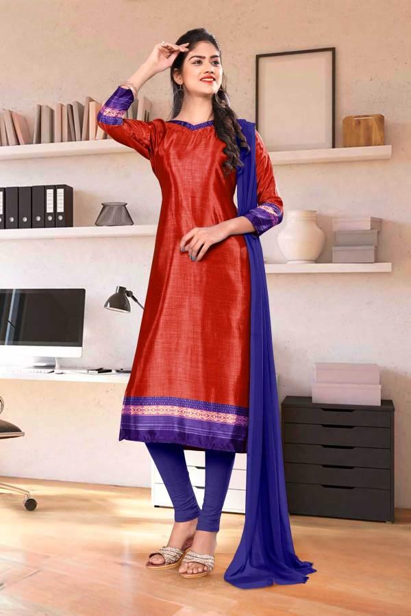 red-ink-blue-premium-italian-silk-crepe-chudidar-for-student-uniform-sarees-01014