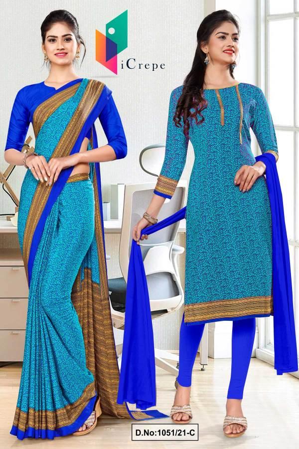 sea-green-blue-paisley-print-premium-italian-silk-crepe-uniform-saree-salwar-combo-for-corporate-employees-1051-C