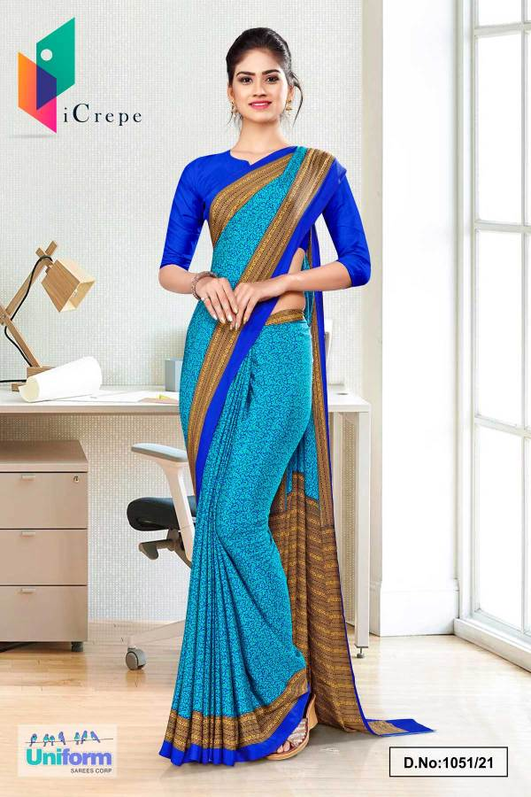 sea-green-blue-paisley-print-premium-italian-silk-crepe-uniform-sarees-for-corporate-employees-1051-21