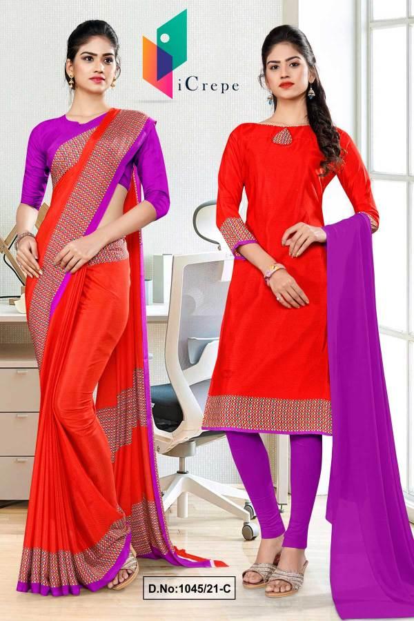 tomato-lavender-premium-italian-silk-crepe-uniform-sarees-salwar-combo-for-office-wear-1045-C