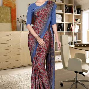 turquoise-and-blue-italian-crepe-silk-corporate-uniform-saree-545