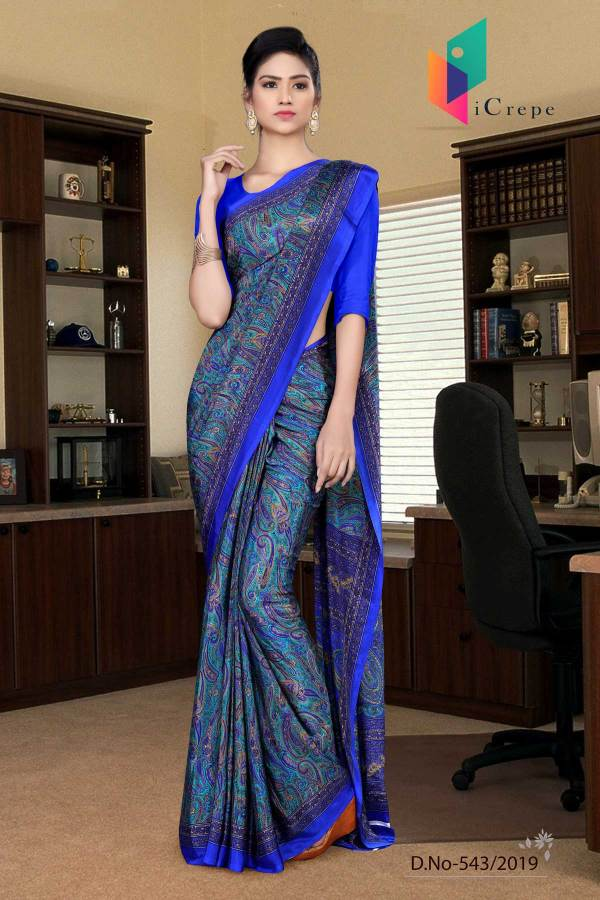 turquoise-and-blue-italian-crepe-silk-teachers-uniform-saree-543