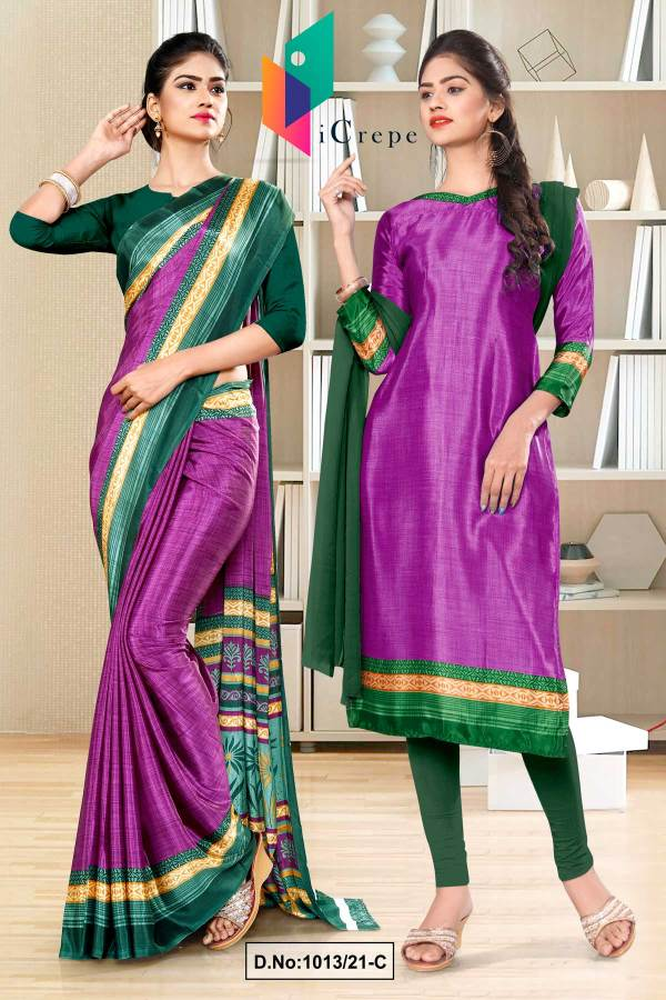 wine-bottle-green-premium-italian-silk-crepe-saree-salwar-combo-for-industrial-uniform-sarees-1013-C