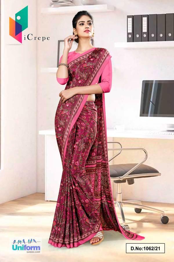 wine-pink-paisley-print-premium-italian-silk-crepe-uniform-sarees-for-school-teachers-1062-21