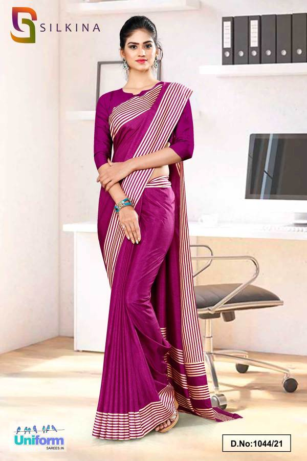 wine-plain-border-premium-polycotton-raw-silk-saree-for-college-uniform-sarees-1044