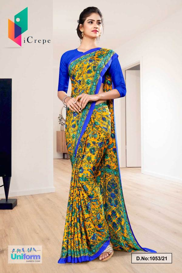 yellow-blue-flower-print-premium-italian-silk-crepe-uniform-sarees-for-college-students-1053-21