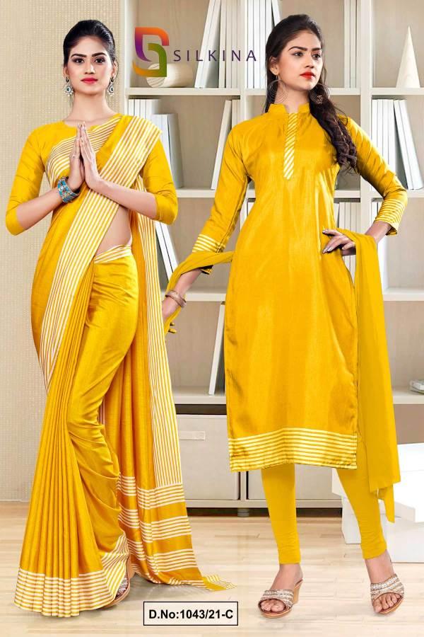 yellow-gold-plain-border-premium-polycotton-raw-silk-saree-salwar-combo-for-staff-uniform-sarees-1043-C