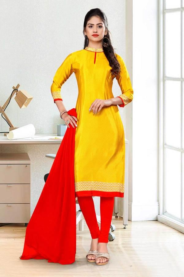 yellow-red-premium-italian-silk-crepe-uniform-salwar-kameez-for-school-teachers-01037