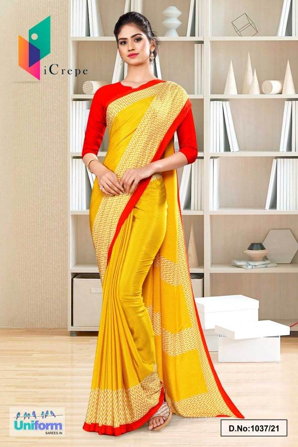 yellow-red-premium-italian-silk-crepe-uniform-sarees-for-school-teachers-1037-21